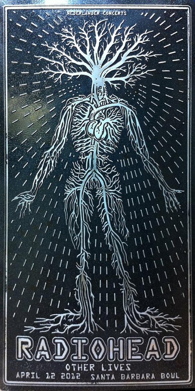 emek radiohead poster distressed metal